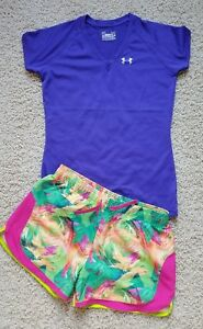 Lot of 2 Under Armour Tennis Athletic Shirt & Shorts SZ Women's XS or Girl's L