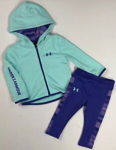 Toddler Girl's Under Armour Full Zip Hoodie and Leggings 2 Piece Set Size 2T