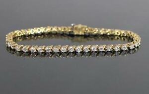 4Ct Round Brilliant Cut Diamond Tennis Bracelet 14K Solid Yellow Gold Finish