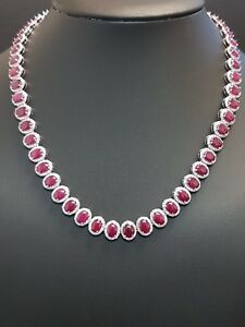 RRP £20000..Exclusive Natural Diamond And Ruby Designer Necklace18KW.Gold -77ct