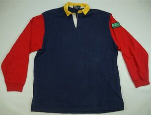 Rare Vintage POLO RALPH LAUREN Polo Sport Hi Tech Spell Out Rugby Shirt 90s SZ L
