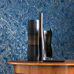 Wallpaper Victorian Blue Silver Metallic textured Embossed damask wallcoverings $79.99