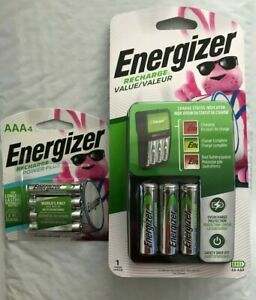 Energizer Recharge Value Charger with 4 AA and 4 AAA rechargeable batteries New
