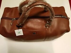 Cutter & Buck Executive Brown Leather Overnight Bag Brand New!