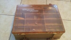 VINTAGE Plano FISHIG TACKLE BOX and 25 lures .OLD. collectors  estate find.