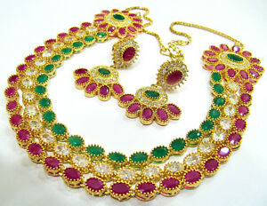 Ruby Emerald Diamond Gemstone Gold Plated Designer Necklace Set Multi Color