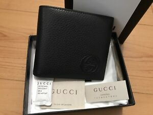 Gucci Wallet Men's Black Soho Pebbled Leather GG Bifold 322114