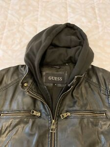 Guess Men's Faux Leather Hooded Moto Jacket New without tags Medium