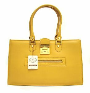 L.A.P.A. Italian Made Natural Yellow Leather Designer Business Handbag Satchel