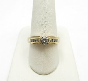 14K Yellow Gold ~13CTW Diamond Round (~15C Center) Accented Solitaire Ring