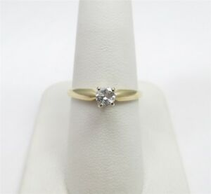 14K Yellow Gold ~14C Round Diamond 4 Prong Solitaire Ring Size 6 12