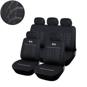 Durable Full Set Car Seat Covers Universal Seat Protector Fit Four Seasons Black