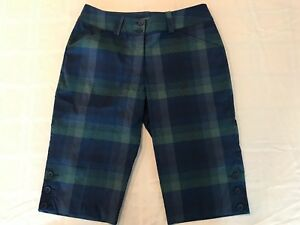 "Nike Golf Dry Fit 13"" Long Women Golf Shorts Size 2 Blue Plaid TS8"