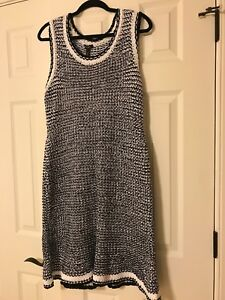 NWT Designer Escada Sz L Women Black White Midi Dress