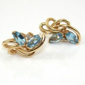 Solid 14K Yellow Gold Blue Topaz Natural Diamond Accent Cluster Earrings