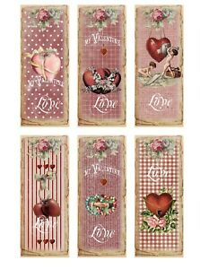 Valentine vintage inspired bookmarks set of 6 with silk ribbons