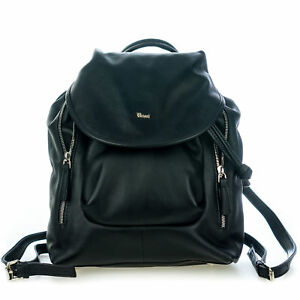 Bruno Rossi Italian Made Black Genuine Calf Leather Women's Designer Backpack