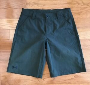 Under Armour Boys Golf Shorts Dark Green Herringbone Patterned Loose Youth Large