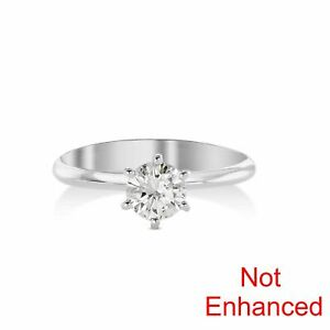 0.9 CARAT D VS2 NATURAL CLARITY DIAMOND SOLITAIRE ENGAGEMENT RING 14K WHITE GOLD