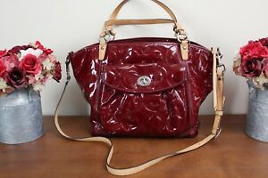 Coach Red Patent Leather Handbag with Tan Leather Trim