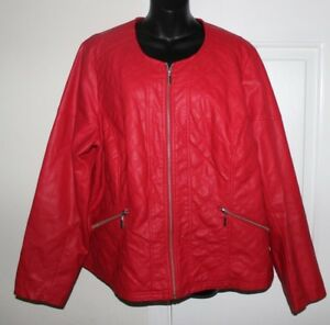 Lane Bryant 2224 Red Faux Leather 3x Jacket Diamond Quilted Moto