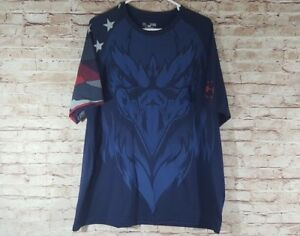 Under Armour USA Eagle Blue Stars Stripes Top XL Loose Heatgear Compression