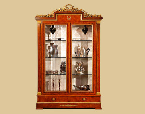 BRAND NEW Gorgeous Display Cabinet Vitrine Made in Italy Wood Veneer 24K Gold