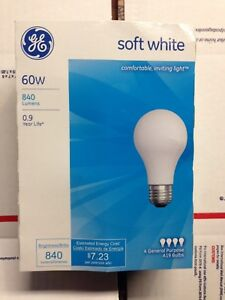 💡 PACK of FOUR (4) GE 60 Watt Soft White Incandescent Light Bulbs 840 Lumens 💡