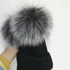 Double 2pcs Real Silver Fox Fur Pompom Balls Knitted Beanie Ski Cap Winter Hat