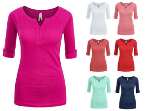 Women#x27;s Basic Soft Cotton Stretch 3 4 Sleeve V Neck T Shirt Top Solid Colors $14.99