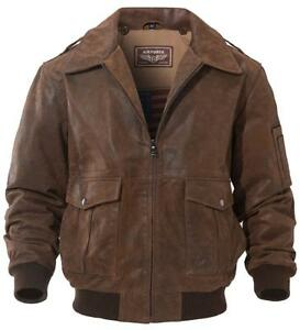 FLAVOR NwT Mens Leather Jacket Pilot faux fur Collar Large Air Force 3628
