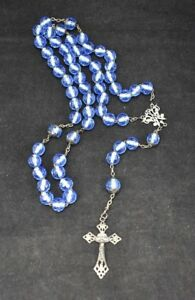 Rosary Bead Necklace with Sterling Silver Ornate Crucifix Large Blue Beads