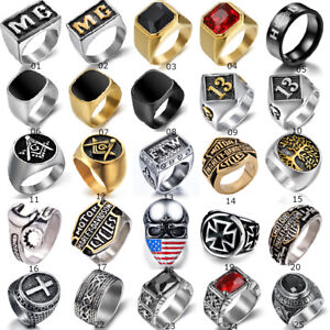 Vintage Mens Silver Stainless Steel Gothic Masonic Biker Rings Jewelry lots 7-15