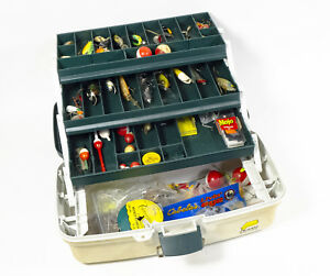Loaded Plano 3-Tray Tackle Box with Lures Jigs Spinners Hooks - 15x8x8