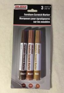 FURNITURE SCRATCH MARKERS, TOUCH UP PENS 3-PACK, STAIN, REPAIR,CHERRY,MAPLE,OAK
