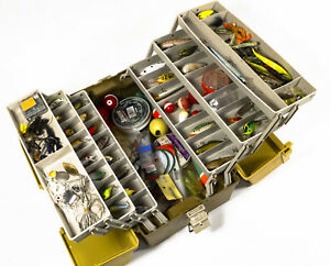 Loaded Plano 6-Tray Tackle Box with Lures Soft Plastics Spinners - 17x9x8
