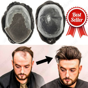Invisible Front Hairline Replacement Toupees Men's Human Hairpieces Wigs US P147