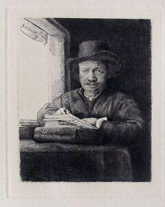REMBRANDT SELF PORTRAIT DRAWING AT WINDOW Signed Etching Amand Durand $179.99