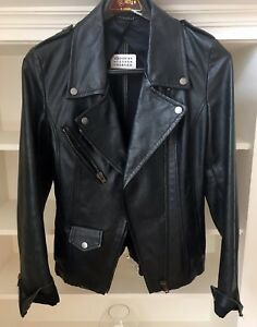 $3400 Maison Martin Margiela Biker Moto Leather Jacket Dark Green Sz 42 Italy