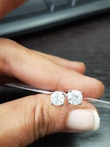 Last Christmas Offer..2.12ct DVS Natural Round Diamond Earring in 18k W.Gold
