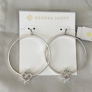Kendra Scott Silver Elberta Hoop Earrings in Dichroic Glass