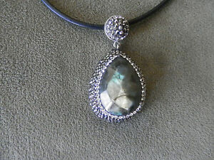 TURKISH STERLING SILVER LABRADORITE PENDANT NECKLACE - NEW