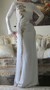 EMILIO PUCCI White&Gold Artistic Dragon DesignLong dress It 40US 4-6XS-SUK 8