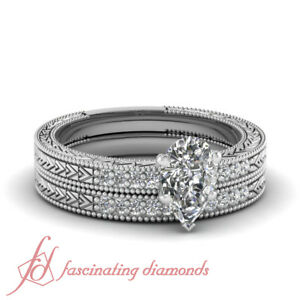 Antique Style Wedding Rings Pave Set 0.70 Ct Pear Shaped Diamond Cut:Very Good