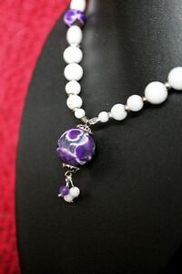 STAND OUT PURPLE - Fire AGATE Gemstone Pendant Necklace Set