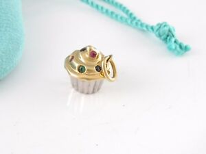 Tiffany & Co 18K Gold Pink Blue Green Sapphire Cupcake Charm Pendant