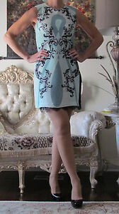 New EMILIO PUCCI Runway Baroque Printed Silk&Lace dress IT 40US 4-6UK 8XS-S