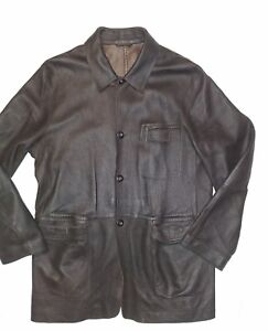 Ermenegildo Zegna Soft pebbled Brown Leather Jacket Size Large