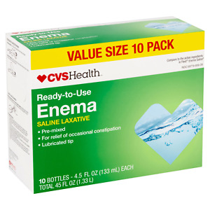 Enema Ready-to-Use Saline Laxative 4.5 fl oz each (Pack of 10) Compare to Fleet