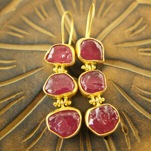 Handmade Turkish Designer Trio Natural Ruby Earrings Gold Over Sterling Silver